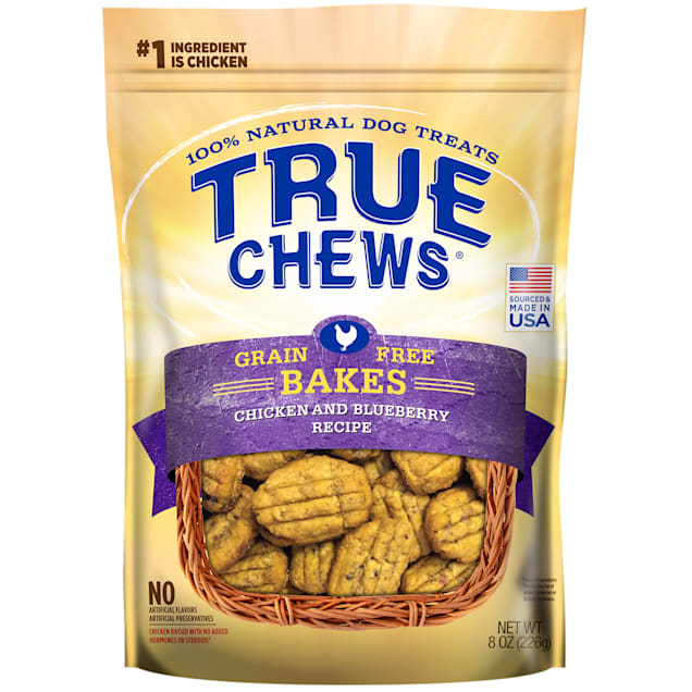 True Chews Grain Free Bakes Chicken & Blueberry Recipe Dog Treats, 8 oz. - Carousel image #1
