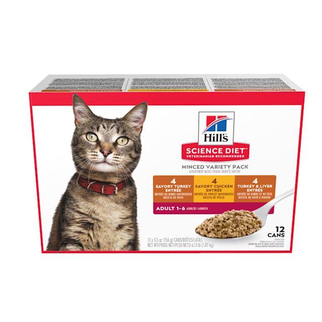Hill's Science Diet Adult Entree Can Variety Pack Cat Food, 5.5 oz., Pack of 12 - Carousel image #1
