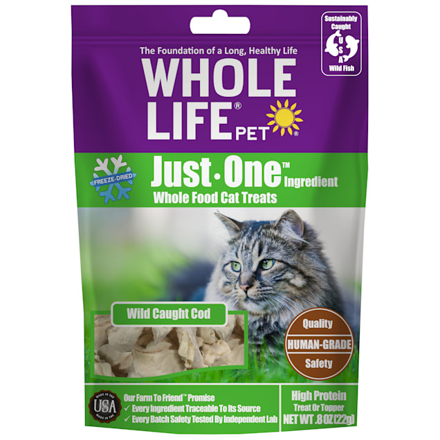 Whole Life Pet Single Ingredient USA Freeze Dried Cod Treats for Cats, 0.8 oz. - Carousel image #1
