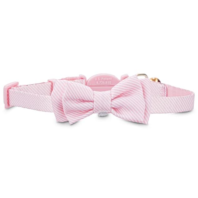 Bond & Co. Pink Seersucker Breakaway Bowtie Cat Collar - Carousel image #1