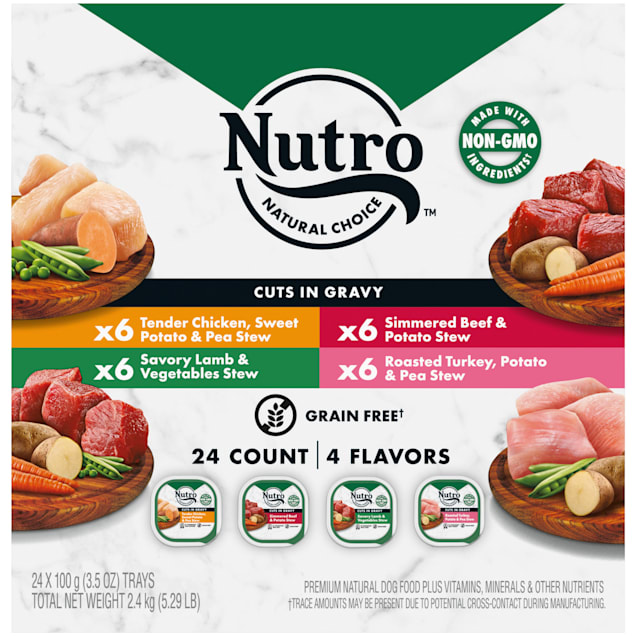Nutro Grain Free Cuts In Gravy Beef, Lamb, Chicken and Turkey Variety Pack Adult Wet Dog Food, 3.5 oz., Count of 24 - Carousel image #1