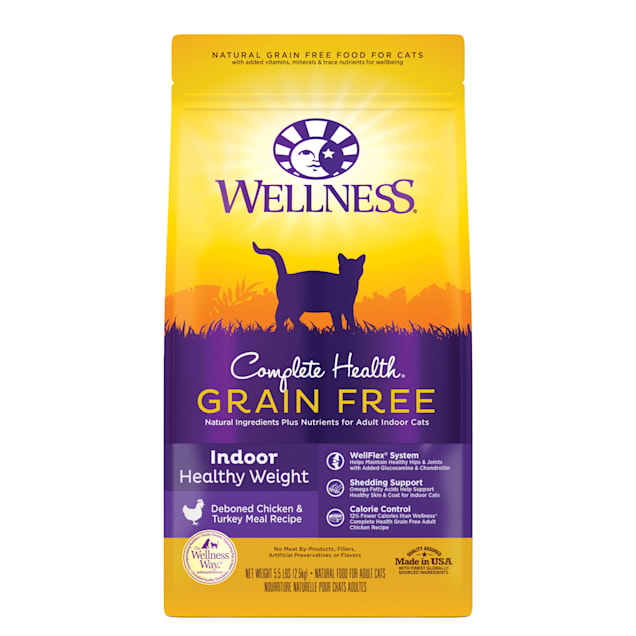 Wellness Complete Health Grain-Free Indoor Healthy Weight Chicken & Turkey Meal Recipe Dry Cat Food, 5.5 lbs. - Carousel image #1