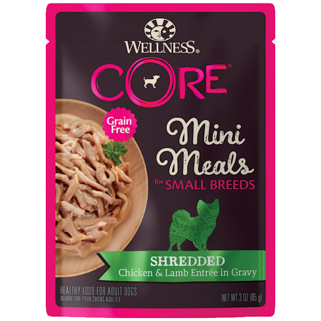 Wellness CORE Natural Grain Free Small Breed Mini Meals Shredded Chicken & Lamb Entree in Gravy Wet Dog Food, 3 oz., Case of 12 - Carousel image #1
