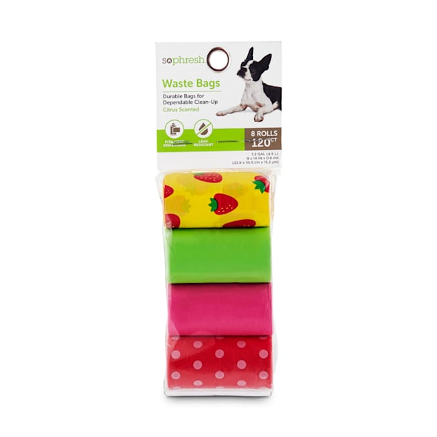 So Phresh Pink and Multicolored Citrus-Print Dog Waste Bags, Count of 120 - Carousel image #1