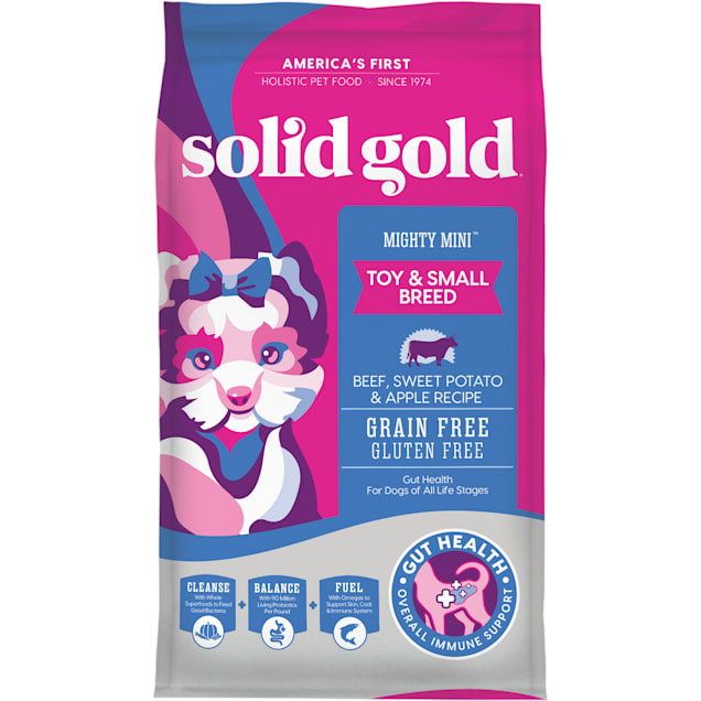 Solid Gold Grain Free Mighty Mini Beef Sweet Potato & Apple Adult Dry Dog Food, 11 lbs. - Carousel image #1