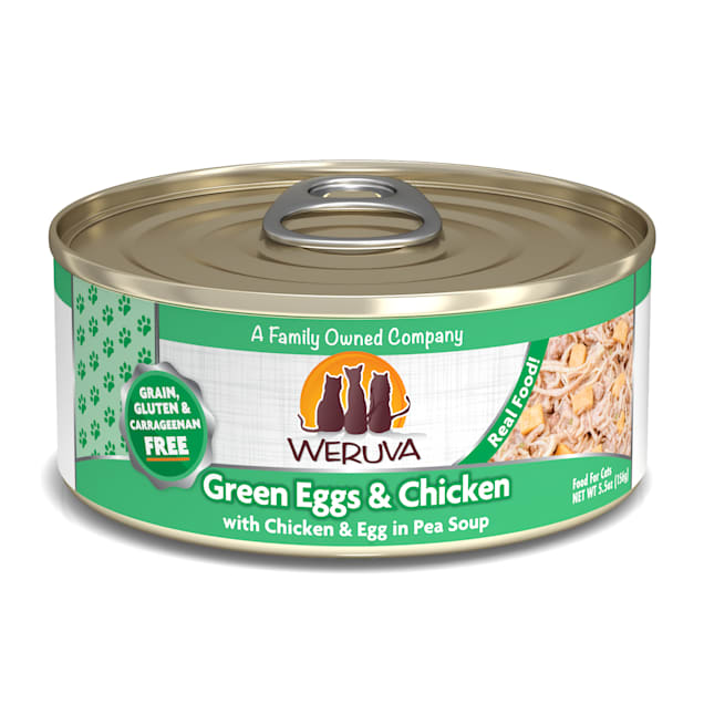 Weruva Classics Chicken, Egg & Greens in Pea Soup Wet Cat Food, 5.5 oz., Case of 24 - Carousel image #1