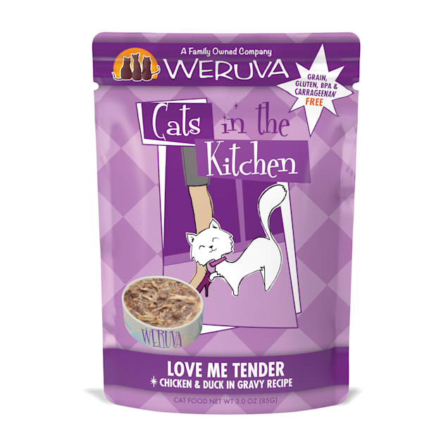 Cats in the Kitchen Love Me Tender Chicken & Duck in Gravy Recipe Wet Cat Food, 3 oz., Case of 12 - Carousel image #1