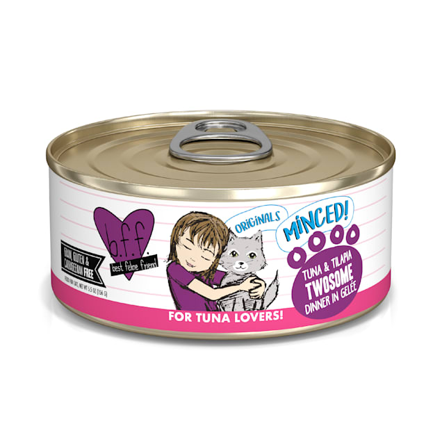 B.F.F. Originals Twosome Tuna & Tilapia Dinner in Gelee Wet Cat Food, 5.5 oz, Case of 24 - Carousel image #1