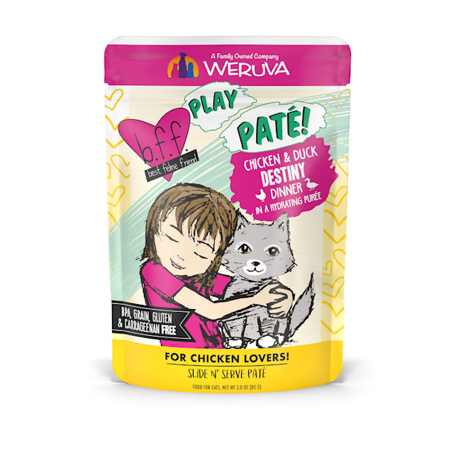 B.F.F. P.L.A.Y. Destiny Chicken & Duck Dinner in a Hydrating Puree Wet Cat Food, 3 oz., Case of 12 - Carousel image #1