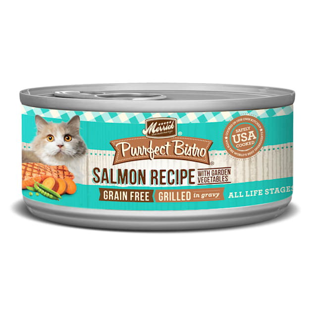 Merrick Purrfect Bistro Grilled Salmon & Vegetables Recipe Wet Cat Food, 5.5 oz., Case of 24 - Carousel image #1