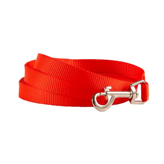 Track & Tail Nylon Orange Check Cord Dog Leash - Carousel image #1