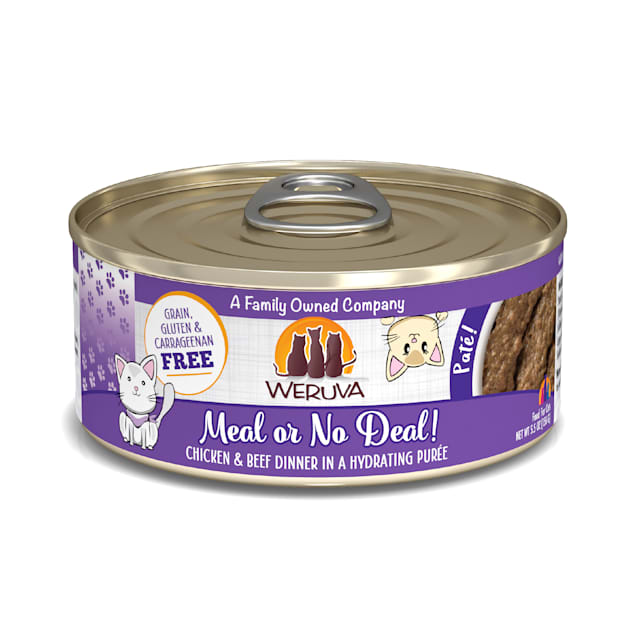 Weruva Pate Meal or No Deal! Chicken & Beef Dinner in a Hydrating Puree Wet Cat Food, 5.5 oz., Case of 8 - Carousel image #1
