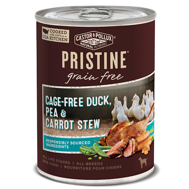 Castor & Pollux Pristine Grain Free Cage-Free Duck, Pea & Carrot Stew Wet Dog Food, 12.7 oz., Case of 12 - Carousel image #1