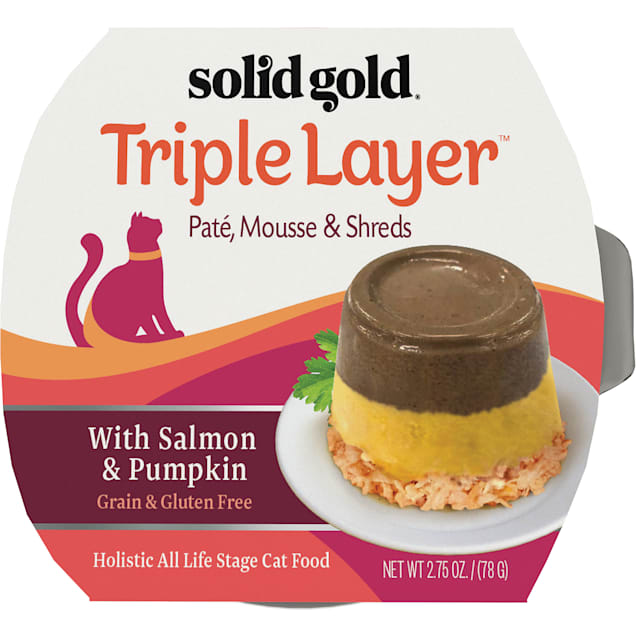 Solid Gold Triple Layer Wet Cat Food with Salmon & Pumpkin; Pate, Mousse and Shreds, 2.75 oz., Case of 6 - Carousel image #1