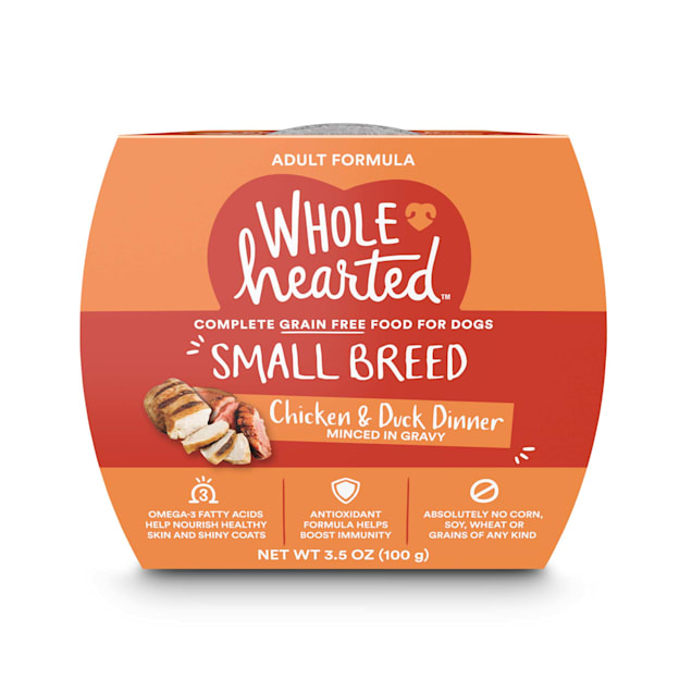 WholeHearted Grain Free Small Breed Chicken and Duck Dinner Adult Wet Dog Food, 3.5 oz., Case of 8 - Carousel image #1