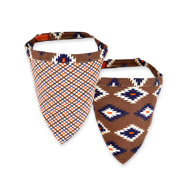 Territory Plaid & Brown Reversible Bandana for Dogs, Large - Carousel image #1