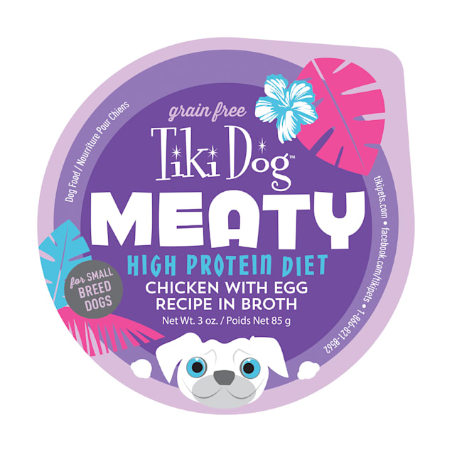 Tiki Dog Meaty High Protein Chicken with Egg Recipe Wet Dog Food, 3 oz. - Carousel image #1