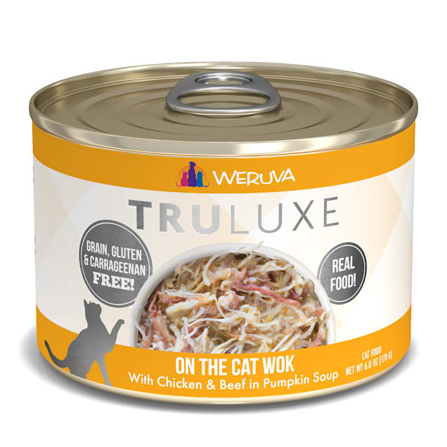 Weruva TruLuxe On The Cat Wok with Chicken & Beef in Pumpkin Soup Wet Cat Food, 6 oz., Case of 24 - Carousel image #1