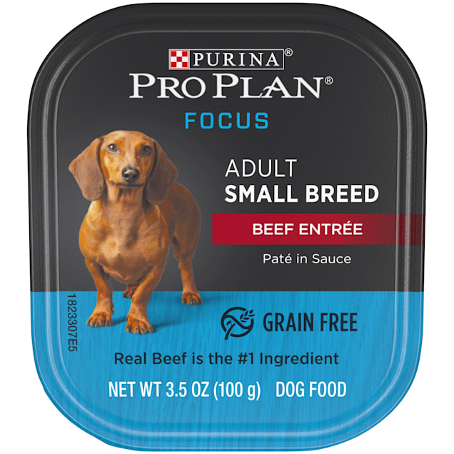 Purina Pro Plan Grain Free, High Protein Small Breed Pate Focus Beef Entree in Sauce Wet Dog Food, 3.5 oz., Case of 12 - Carousel image #1