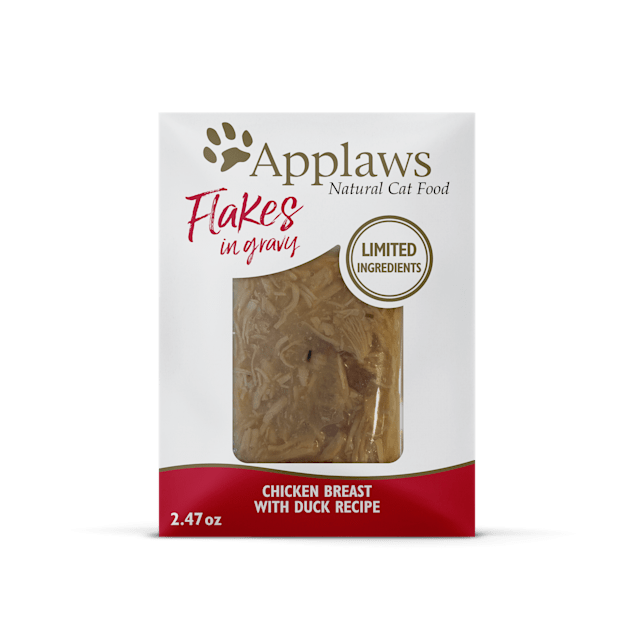 Applaws Chicken Flakes with Duck in Gravy Wet Cat Food, 2.47 oz., Case of 12 - Carousel image #1