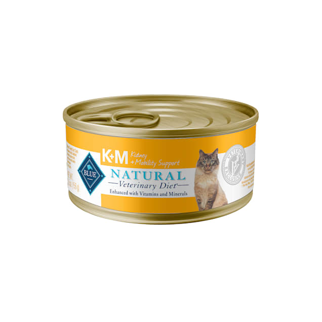 Blue Buffalo Blue Natural Veterinary Diet KM Kidney + Mobility Support Canned Wet Cat Food, 5.5 oz., Case of 24 - Carousel image #1