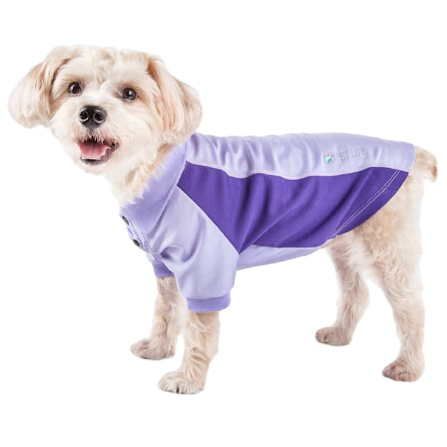 Pet Life Active Barko Pawlo Relax-Stretch Dog Polo Purple T-Shirt, X-Small - Carousel image #1