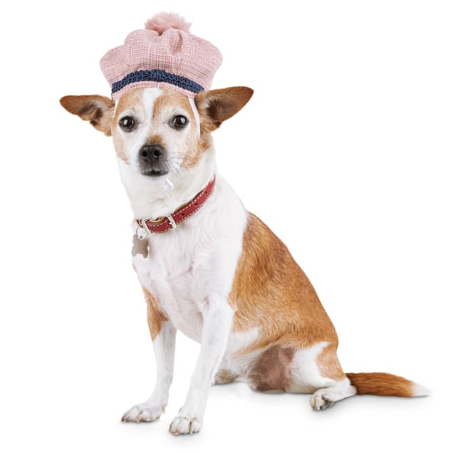Modern Luxe Collection Pink Tweed Pom-Pom Dog Hat, X-Small/Small - Carousel image #1