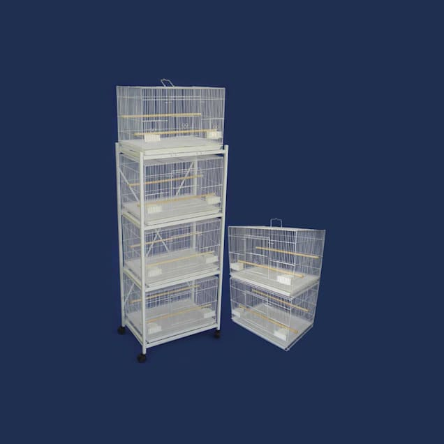 YML White Bird Cages with Stand and Divider, Small - Carousel image #1