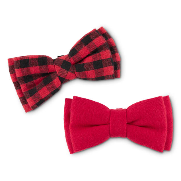 Bond & Co. Red and Black Buffalo Check Dog Bowtie Set, Small, Pack of 2 - Carousel image #1
