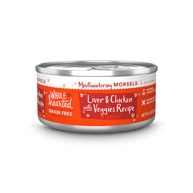 WholeHearted All Life Stages Grain-Free Chicken & Liver with Veggies Recipe Morsels in Gravy Wet Cat Food, 5.5 oz., Case of 12 - Carousel image #1