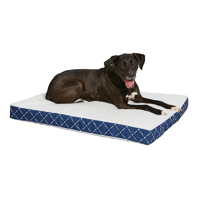 "Midwest Quiet Time Couture Double Orthopedic Blue Dog Bed, 30.25"" L X 40"" W - Carousel image #1"