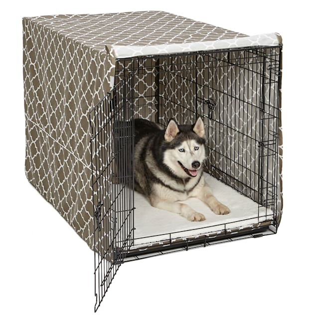 """Midwest Quiet Time Defender Brown Crate Cover for Dogs, 48"""" L - Carousel image #1"""