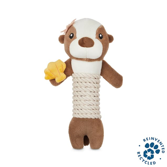 Bond & Co. Recycled & Reinvented Otter Plush & Rope Stick Dog Toy, Large - Carousel image #1