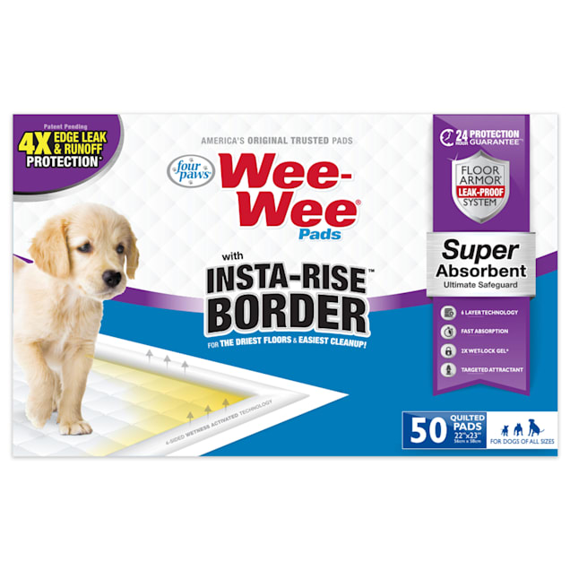 Four Paws Wee Wee Pads with Insta Rise Border for Dog, Count of 50 - Carousel image #1