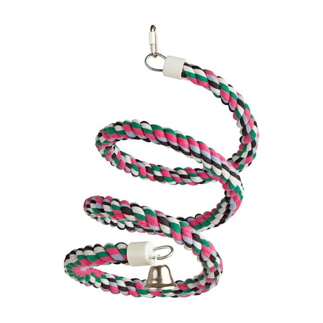 You & Me Colorful Spiral Rope Bird Perch, Medium - Carousel image #1