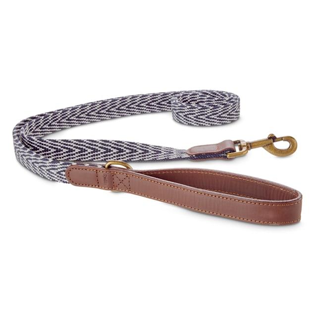 Reddy Indigo Chevron & Leather Dog Leash, 6 ft. - Carousel image #1