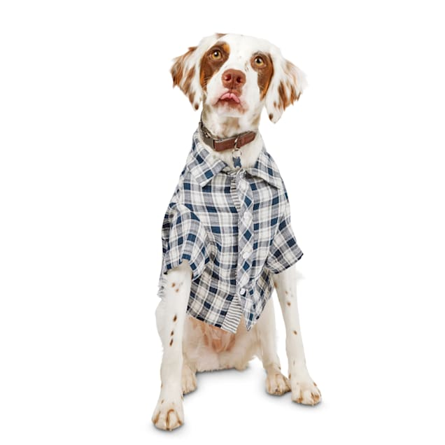 Reddy Navy & White Plaid Woven Dog Shirt, X-Small - Carousel image #1