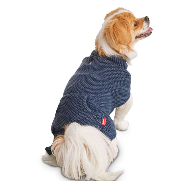 Reddy Indigo Knit Dog Sweater, Large - Carousel image #1