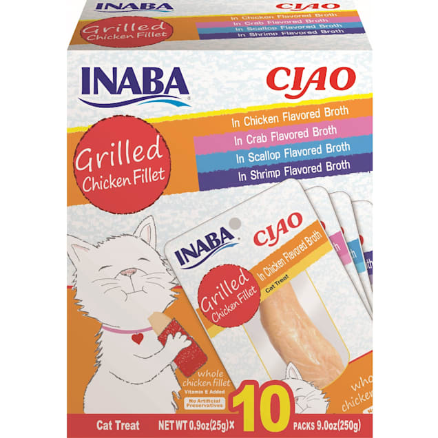 Inaba Ciao Grilled Chicken Fillet Variety Box Cat Treats, 9 oz., Count of 10 - Carousel image #1