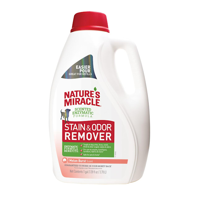 Nature's Miracle Stain & Odor Remover Melon Burst Scent Tough for Dogs, 128 fl. oz. - Carousel image #1