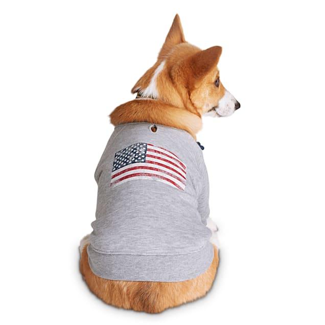 Reddy American Flag Dog Graphic Crewneck Sweatshirt, X-Small - Carousel image #1