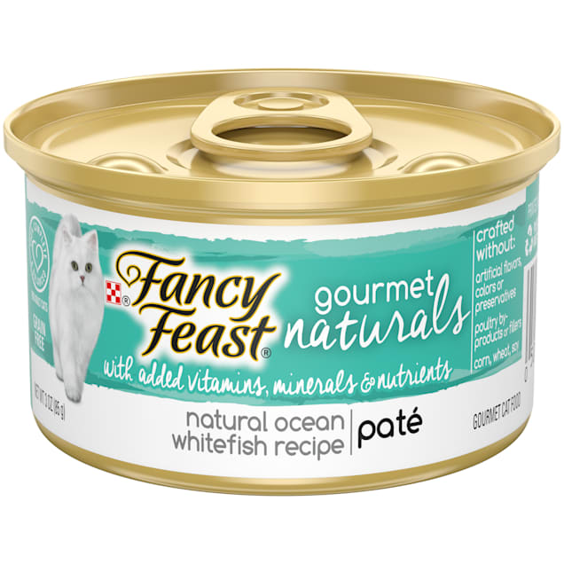 Purina Fancy Feast Grain Free Gourmet Naturals Ocean Whitefish Recipe Pate Wet Cat Food, 3 oz., Case of 12 - Carousel image #1