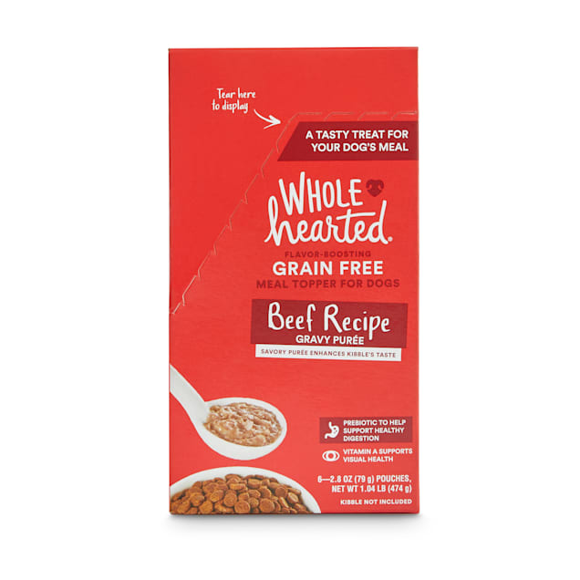 WholeHearted Grain-Free Beef Recipe Gravy Puree Wet Dog Meal Topper, 2.8 oz., Case of 6 - Carousel image #1