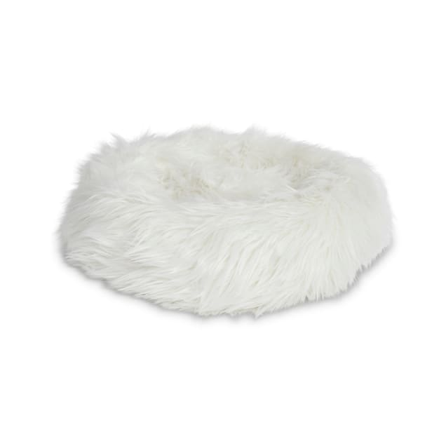 "EveryYay Snooze Fest Grey Faux Fur Donut Cat Bed, 18"" L X 18"" W X 5"" H - Carousel image #1"