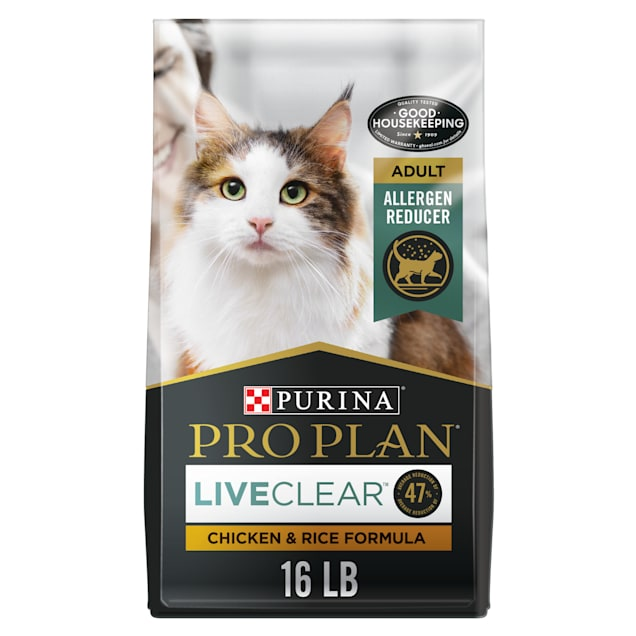 Purina Pro Plan With Probiotics, High Protein LiveClear Chicken & Rice Formula Dry Cat Food, 16 lbs. - Carousel image #1