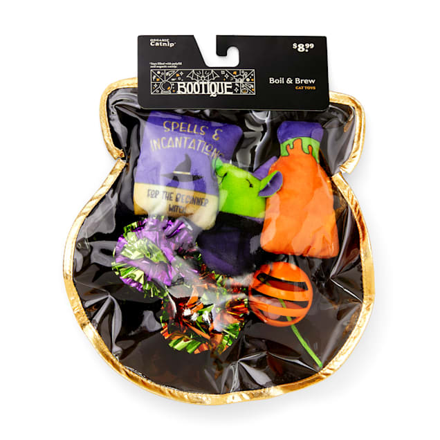 Bootique Boil & Brew Witch's Cauldron Halloween Plush Multipack Cat Toys, Medium - Carousel image #1