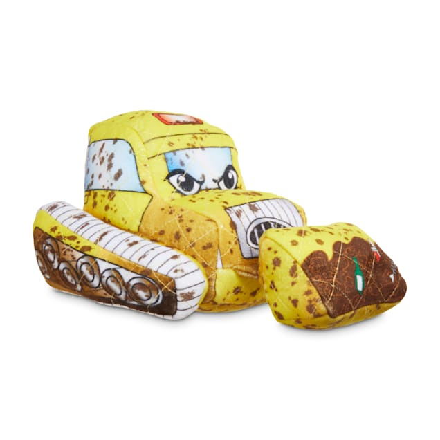 Leaps & Bounds Ruffest & Tuffest Bulldozer Tough Plush Dog Toy with Kevlar Stitching, Small - Carousel image #1
