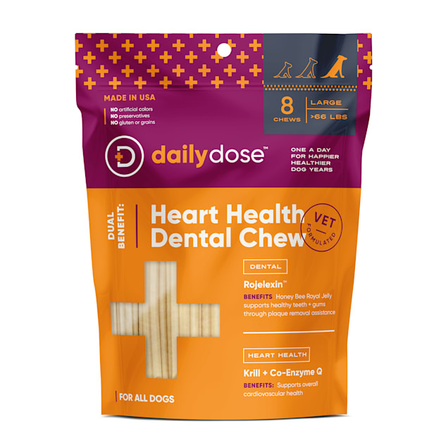 daily dose Dual Benefit Dental + Heart Health Chews for Large Dogs, 11.85 oz., 8 Chews - Carousel image #1