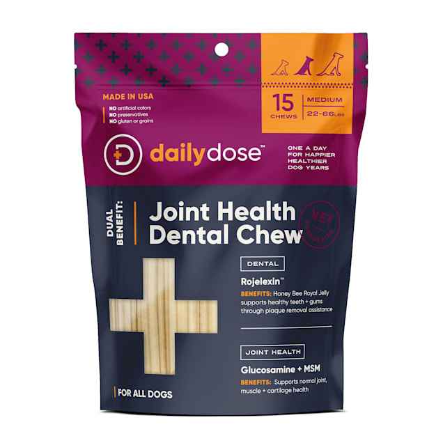 daily dose Dual Benefit Dental + Joint Health Chews for Medium Dogs, 11.64 oz., 15 Chews - Carousel image #1
