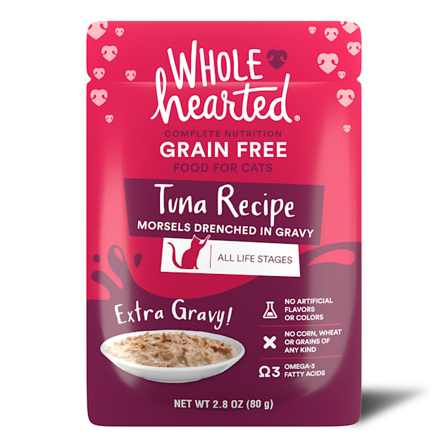 WholeHearted All Life Stages Grain-Free Tuna Recipe Morsels in Extra Gravy Wet Cat Food, 2.8 oz., Case of 12 - Carousel image #1